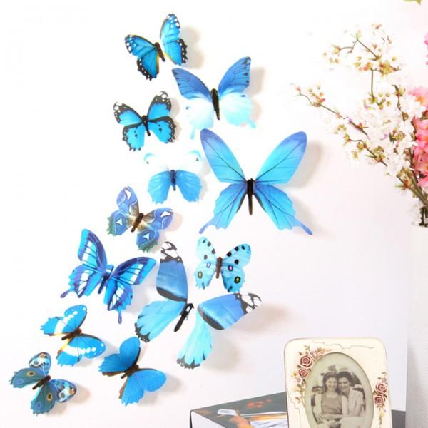 Wand-Aufkleber 12 Stücke für Dekorationen 3D Schmetterling Regenbogen PVC